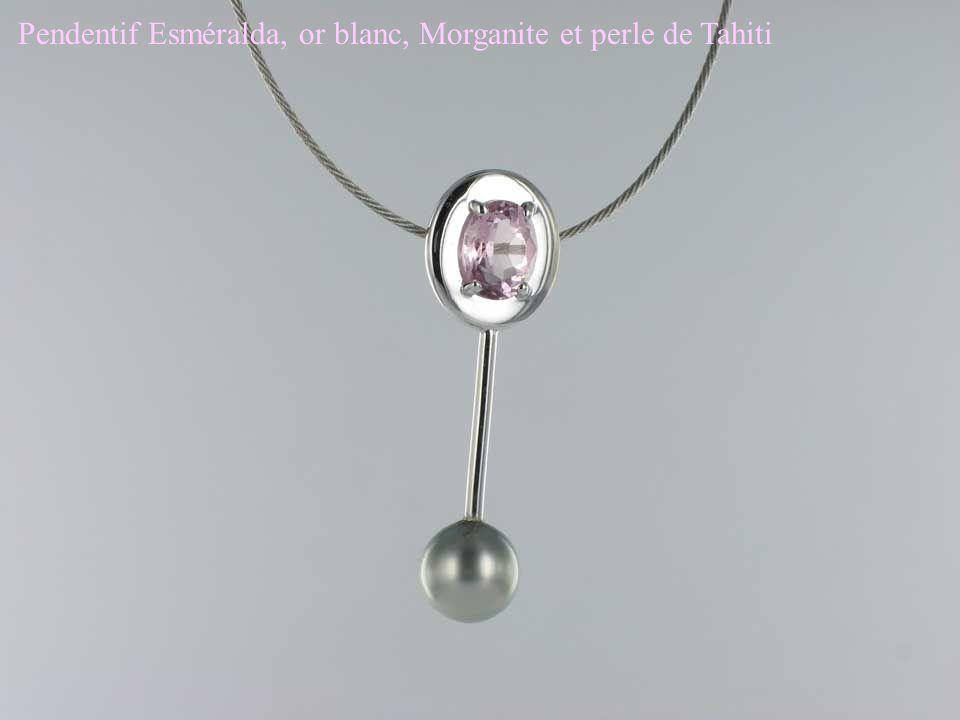 Pendentif Esméralda, or blanc, Morganite et perle de Tahiti