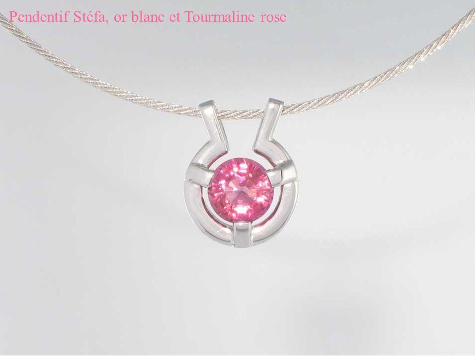 Pendentif Stéfa, or blanc et Tourmaline rose