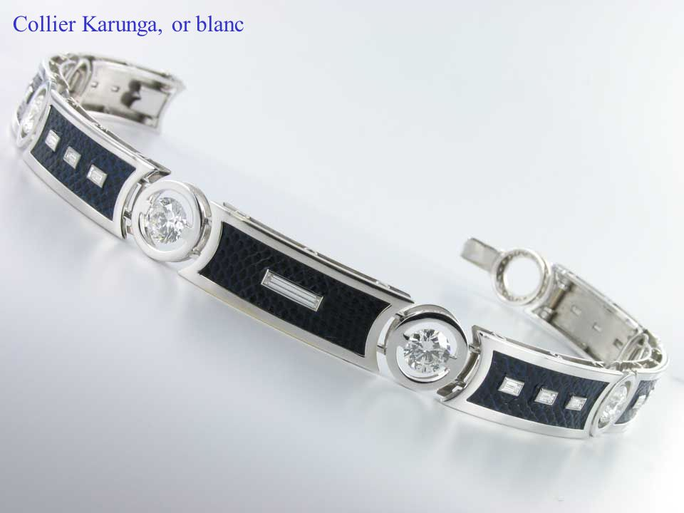 Collier Karunga, or blanc