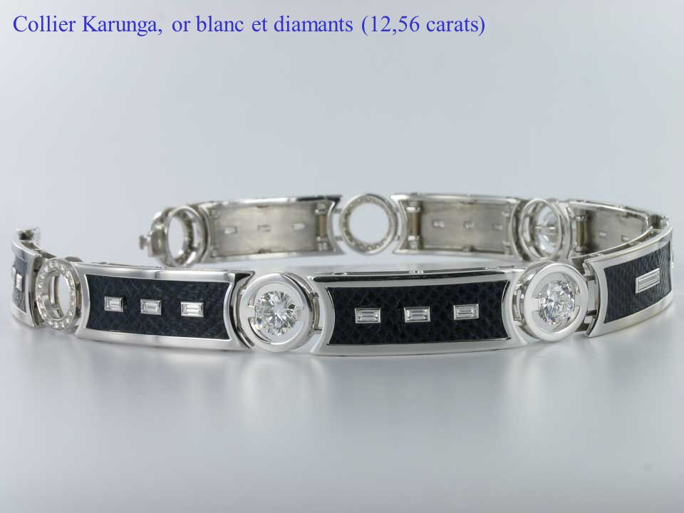 Collier Karunga, or blanc et diamants (12,56 carats)