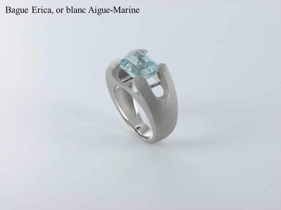 Bague Erica, or blanc Aigue-Marine