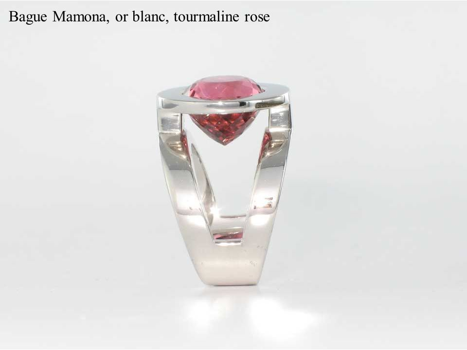 Bague Mamona, or blanc, tourmaline rose
