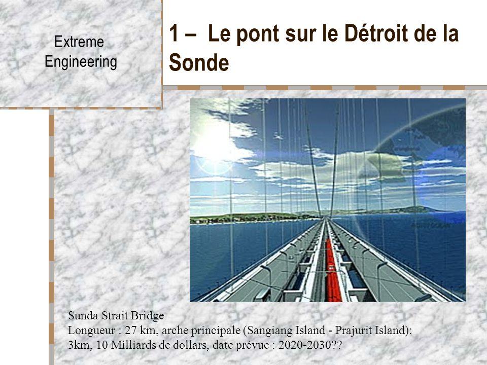 1 – Le pont sur le Détroit de la Sonde Extreme Engineering Sunda Strait Bridge Longueur : 27 km, arche principale (Sangiang Island - Prajurit Island):