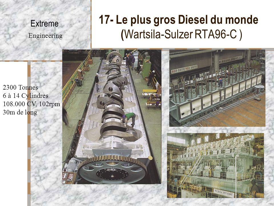 17- Le plus gros Diesel du monde ( Wartsila-Sulzer RTA96-C ) Extreme Engineering 2300 Tonnes 6 à 14 Cylindres 108.000 CV, 102rpm 30m de long