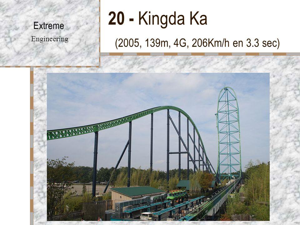 20 - Kingda Ka (2005, 139m, 4G, 206Km/h en 3.3 sec) Extreme Engineering