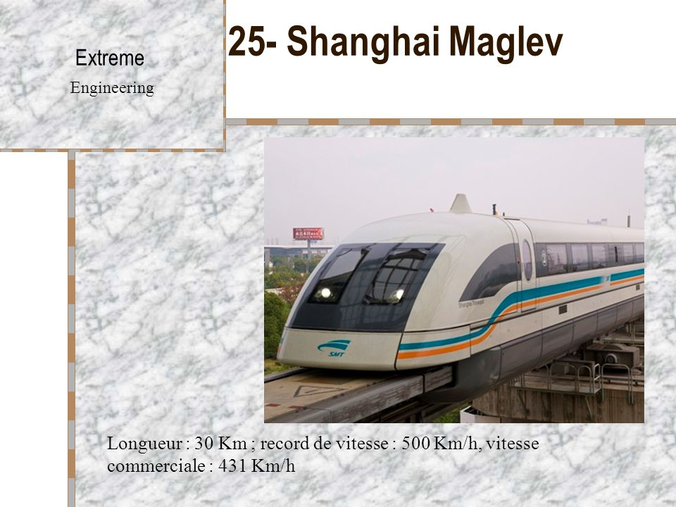 25- Shanghai Maglev Extreme Engineering Longueur : 30 Km ; record de vitesse : 500 Km/h, vitesse commerciale : 431 Km/h
