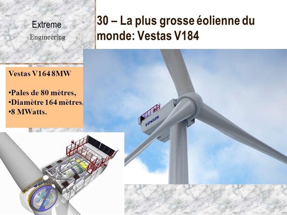 30 – La plus grosse éolienne du monde: Vestas V184 Extreme Engineering Vestas V164 8MW Pales de 80 mètres, Diamètre 164 mètres, 8 MWatts.
