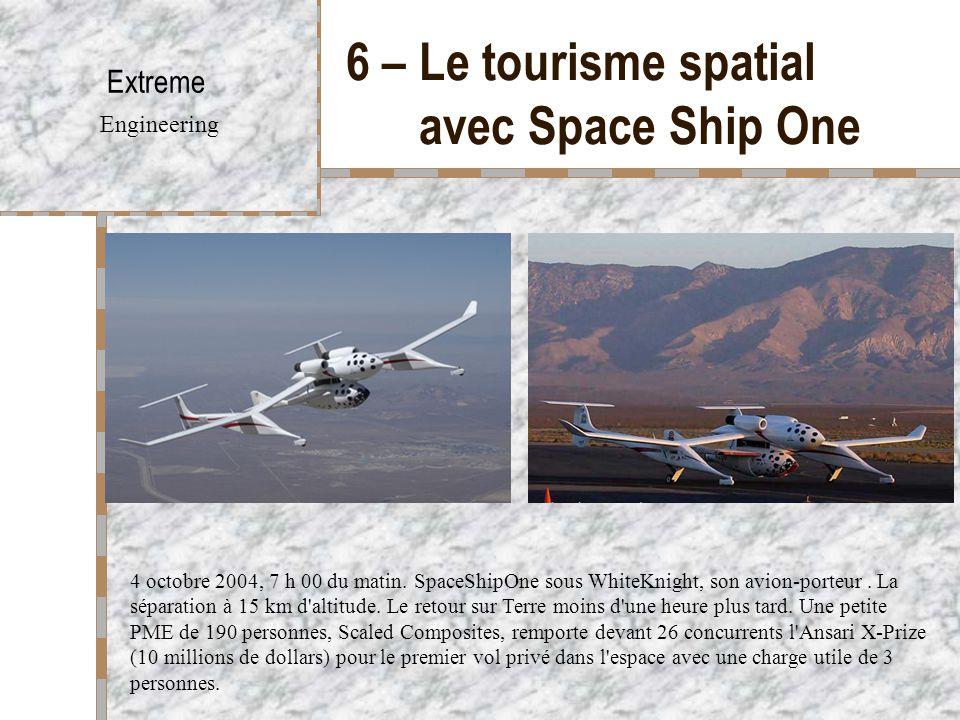 6 – Le tourisme spatial avec Space Ship One Extreme Engineering 4 octobre 2004, 7 h 00 du matin. SpaceShipOne sous WhiteKnight, son avion-porteur. La
