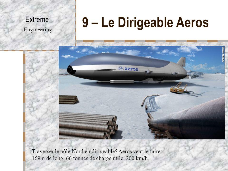 9 – Le Dirigeable Aeros Extreme Engineering Traverser le pôle Nord en dirigeable? Aeros veut le faire: 169m de long, 66 tonnes de charge utile, 200 km