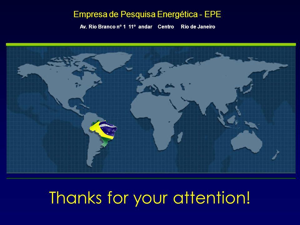 Empresa de Pesquisa Energética - EPE Av. Rio Branco nº 1 11º andar Centro Rio de Janeiro Thanks for your attention!