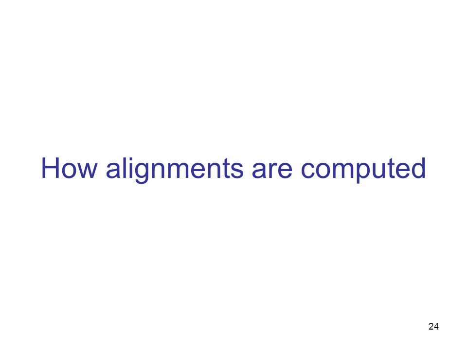 24 How alignments are computed