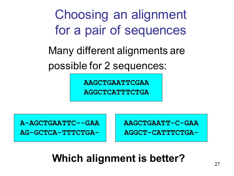 27 Choosing an alignment for a pair of sequences AAGCTGAATTCGAA AGGCTCATTTCTGA AAGCTGAATT-C-GAA AGGCT-CATTTCTGA- A-AGCTGAATTC--GAA AG-GCTCA-TTTCTGA- Which alignment is better.