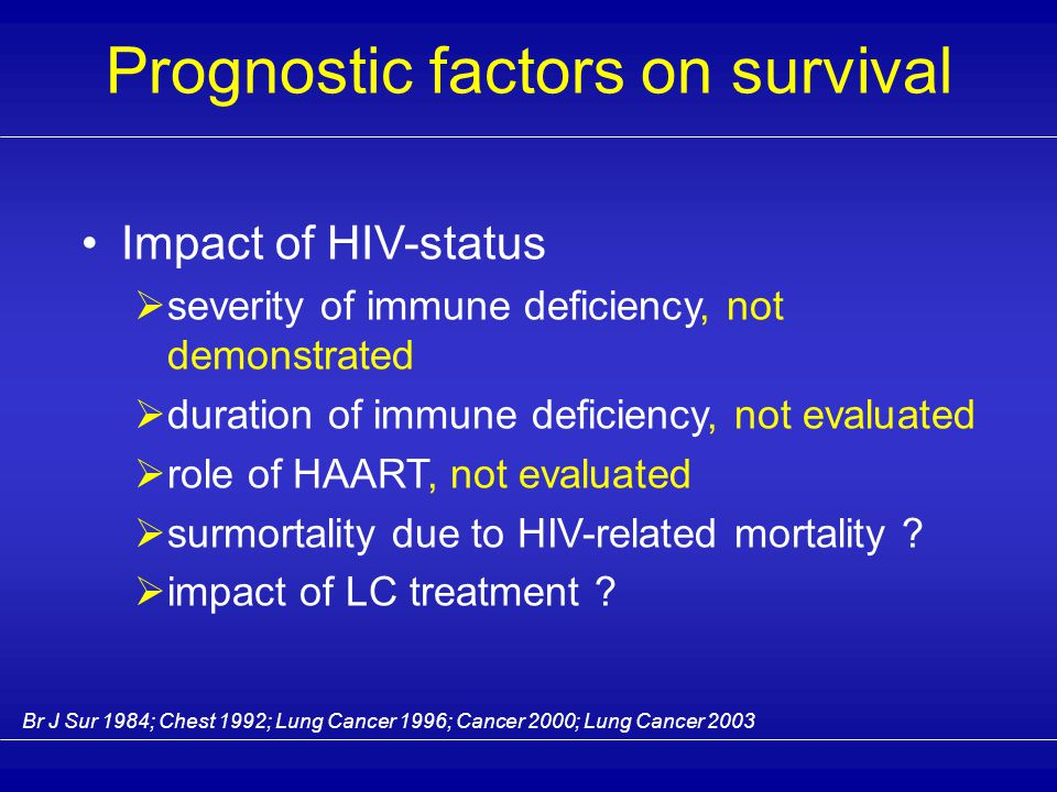 Difference in PS at presentation Prognostic factors on survival 0 25 50 75 100 PS < 2 PS 2-4 p < 0,01 Non HIV HIV % of patients Maybe at cause .