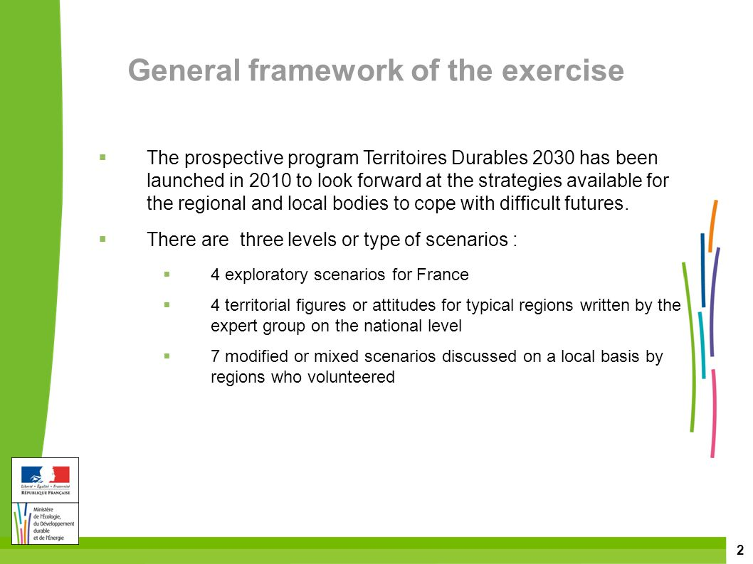 2 General framework of the exercise  The prospective program Territoires Durables 2030 has been launched in 2010 to look forward at the strategies available for the regional and local bodies to cope with difficult futures.