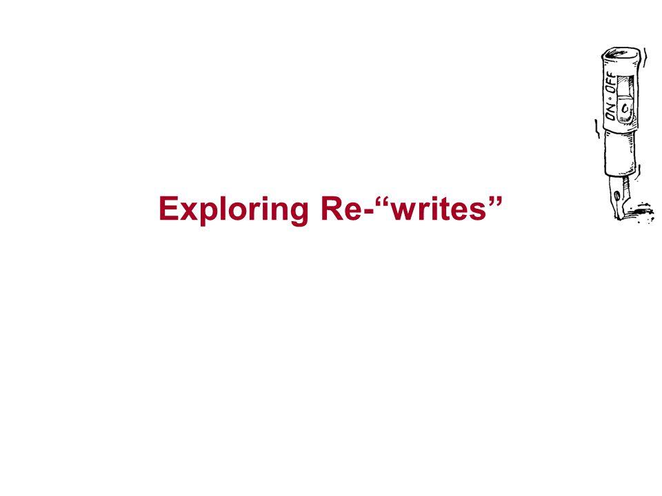 Exploring Re- writes