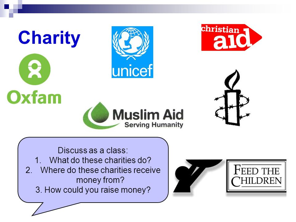 Charity Discuss as a class: 1.What do these charities do.
