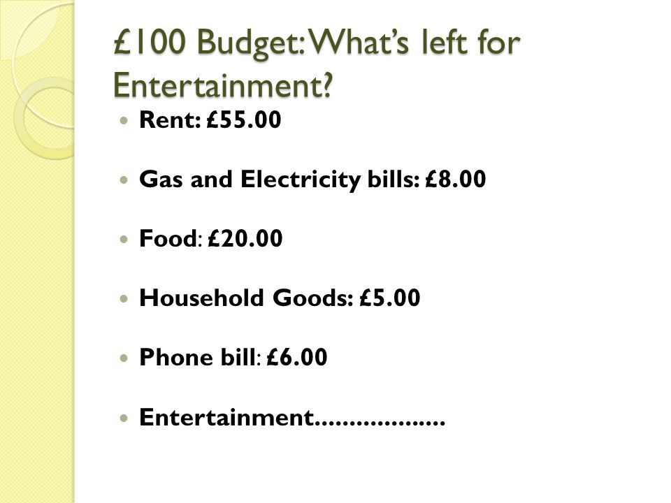 £100 Budget: What's left for Entertainment.
