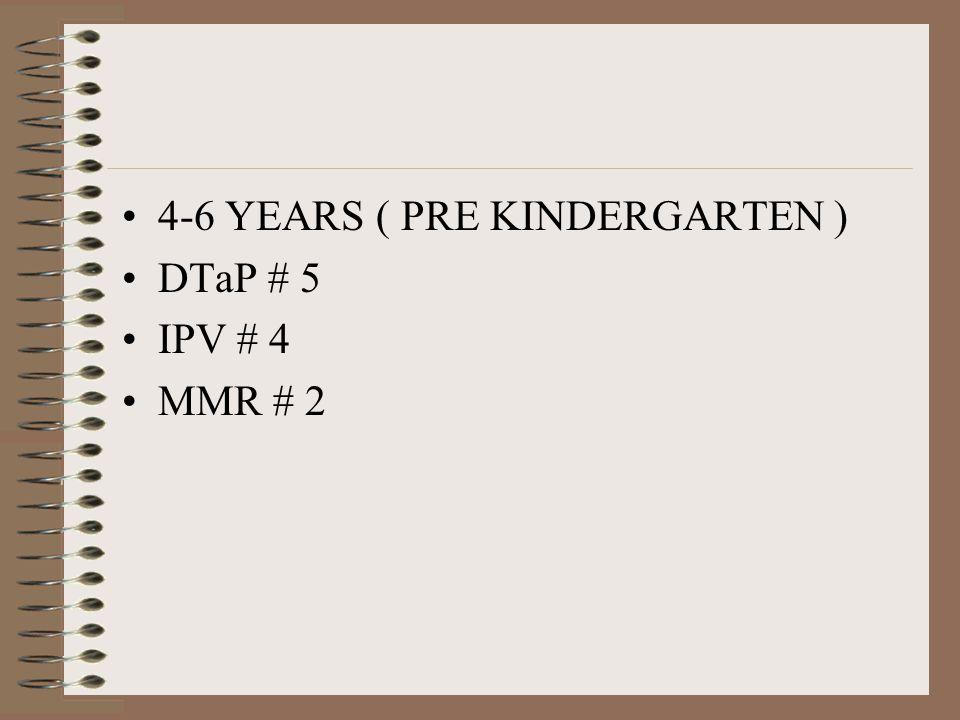 4-6 YEARS ( PRE KINDERGARTEN ) DTaP # 5 IPV # 4 MMR # 2