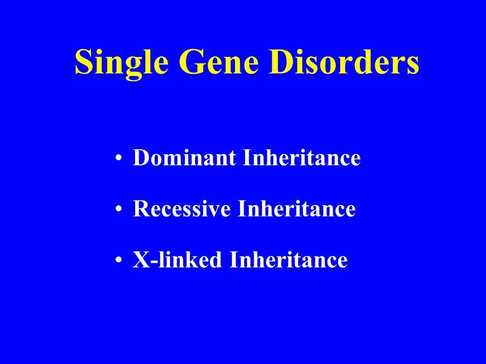 Dominant Inheritance Recessive Inheritance X-linked Inheritance Single Gene Disorders