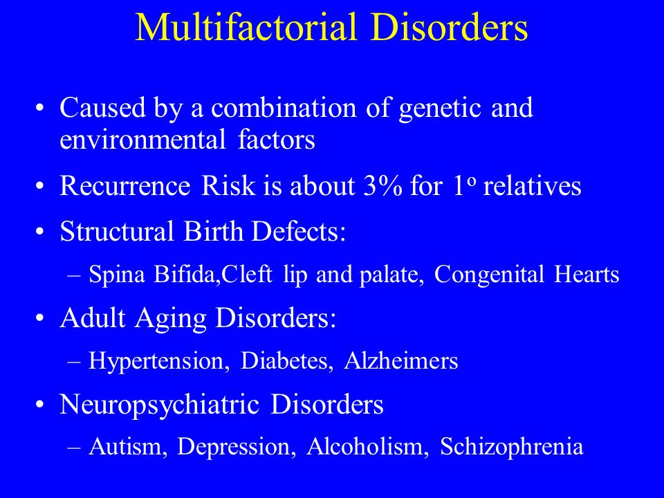 Multifactorial Disorders Caused by a combination of genetic and environmental factors Recurrence Risk is about 3% for 1 o relatives Structural Birth D