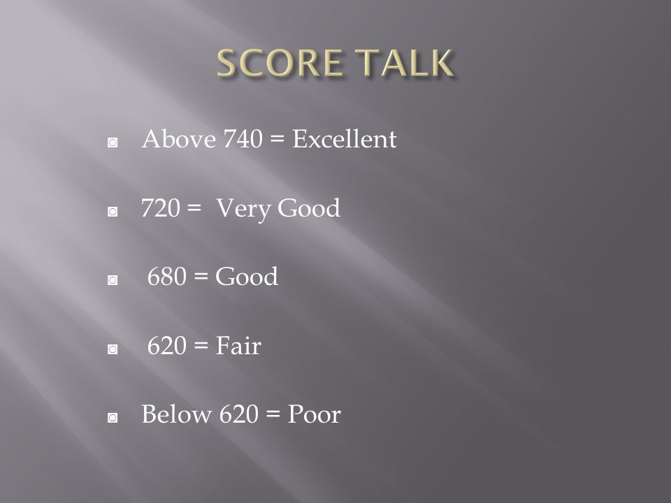 ◙ Above 740 = Excellent ◙ 720 = Very Good ◙ 680 = Good ◙ 620 = Fair ◙ Below 620 = Poor