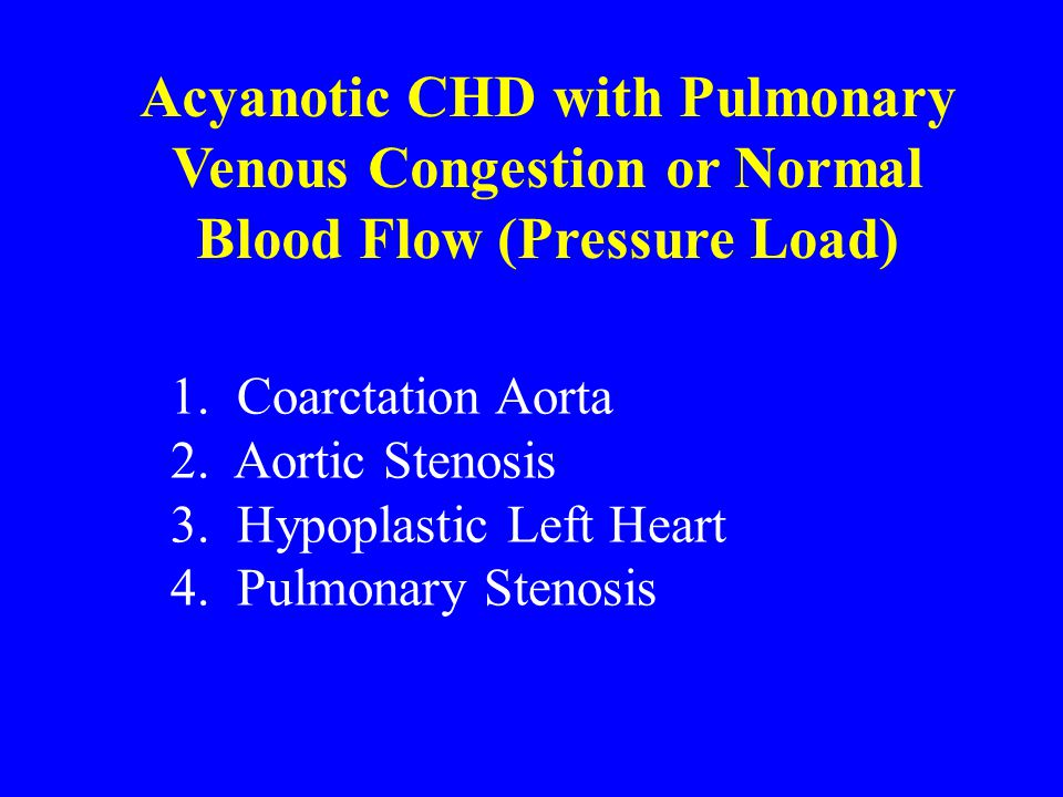 Acyanotic CHD with Pulmonary Venous Congestion or Normal Blood Flow (Pressure Load) 1.