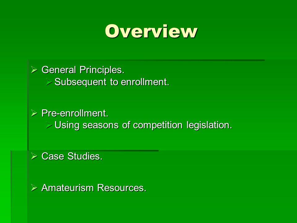Overview  General Principles.  Subsequent to enrollment.  Pre-enrollment.  Using seasons of competition legislation.  Case Studies.  Amateurism