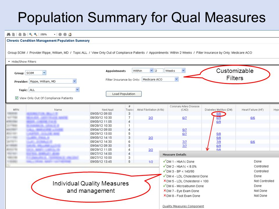 Population Summary for Qual Measures 18 Customizable Filters Individual Quality Measures and management