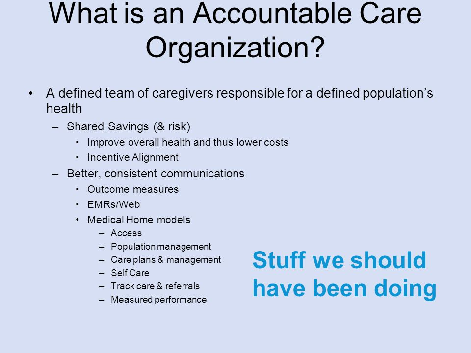 What is an Accountable Care Organization.