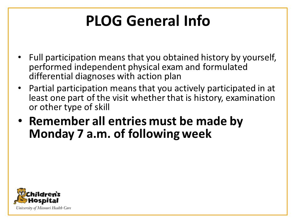 PLOG General Info Full participation means that you obtained history by yourself, performed independent physical exam and formulated differential diag