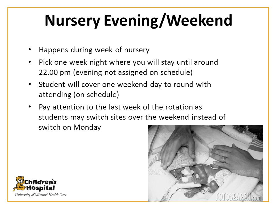 ER Call at WCH Happens during 4 weeks of outpatient rotations Three calls assigned on schedule Students may switch as long as Ruth Sypes is notified of changes Call starts at 17.00 and ends at 22.00 on week days and weekend days Please report to pediatric resident in ER at WCH