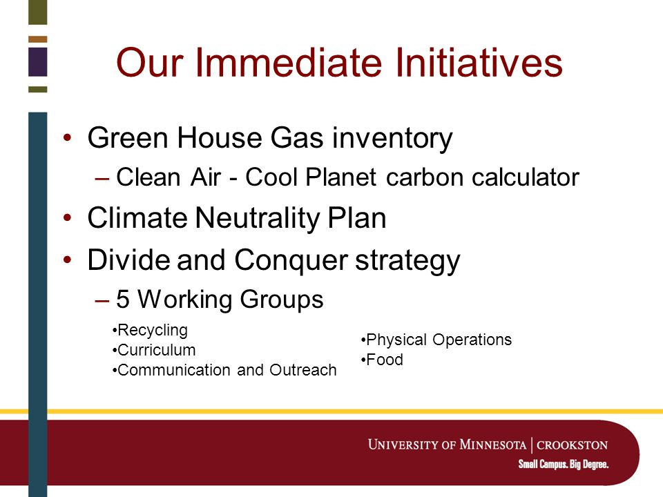 Our Immediate Initiatives Green House Gas inventory –Clean Air - Cool Planet carbon calculator Climate Neutrality Plan Divide and Conquer strategy –5 Working Groups Recycling Curriculum Communication and Outreach Physical Operations Food