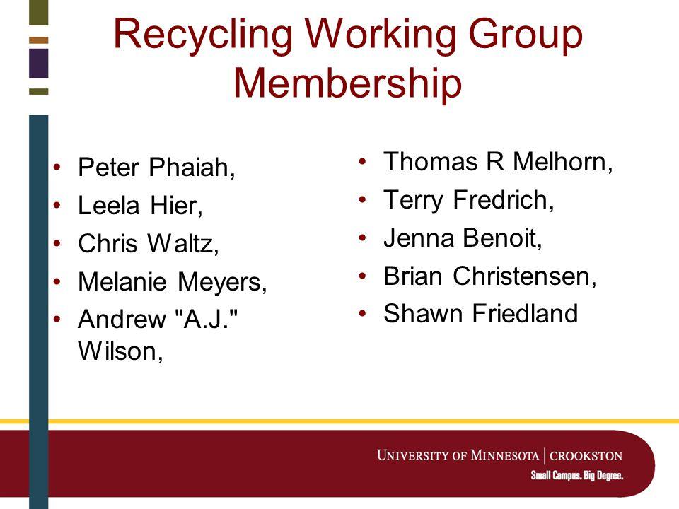 Recycling Working Group Membership Peter Phaiah, Leela Hier, Chris Waltz, Melanie Meyers, Andrew A.J. Wilson, Thomas R Melhorn, Terry Fredrich, Jenna Benoit, Brian Christensen, Shawn Friedland