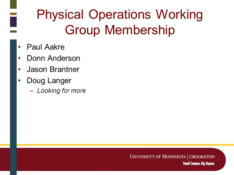 Physical Operations Working Group Membership Paul Aakre Donn Anderson Jason Brantner Doug Langer –Looking for more