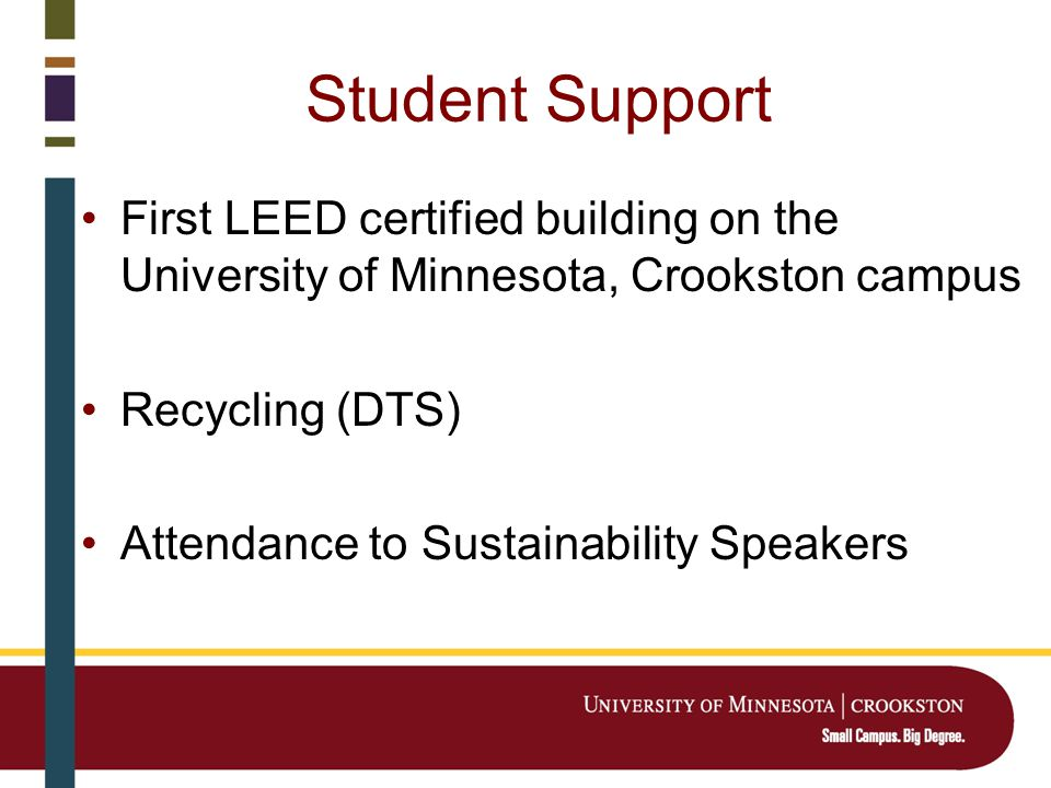 Student Support First LEED certified building on the University of Minnesota, Crookston campus Recycling (DTS) Attendance to Sustainability Speakers