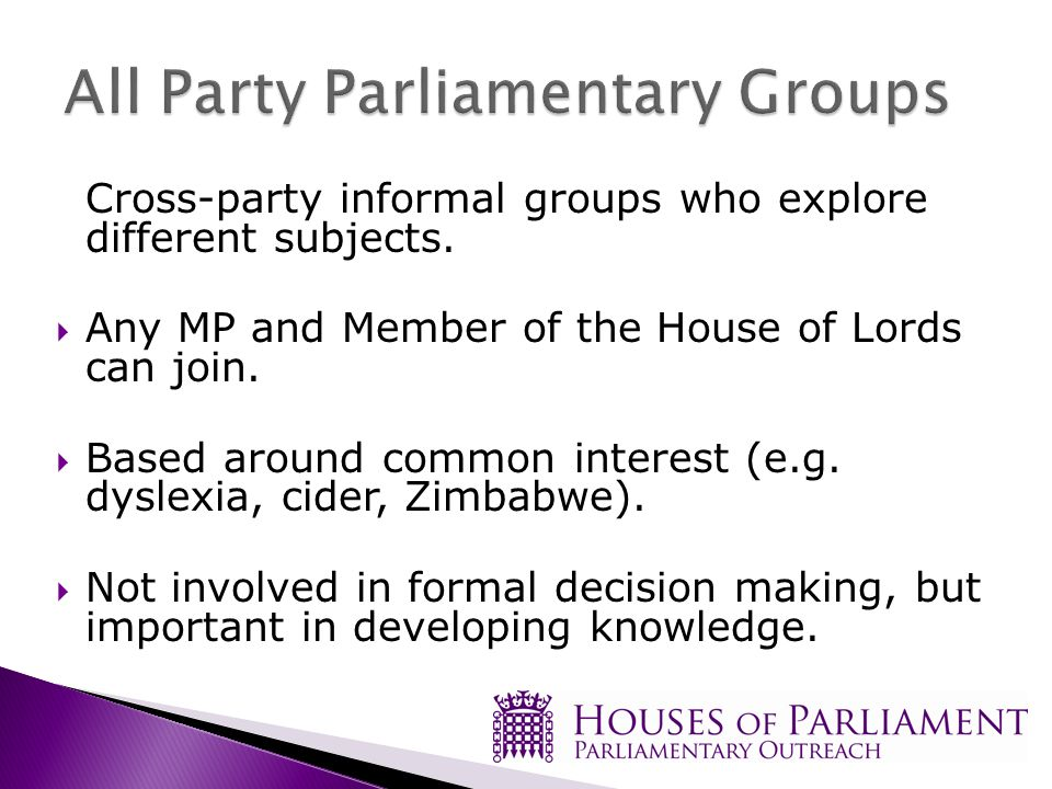Cross-party informal groups who explore different subjects.