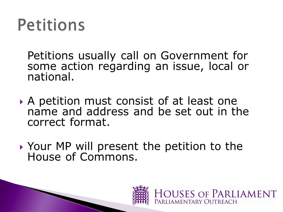 Petitions usually call on Government for some action regarding an issue, local or national.