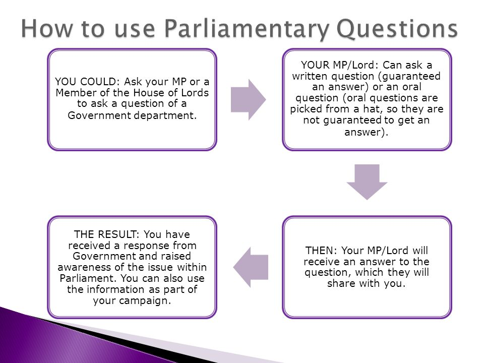 YOU COULD: Ask your MP or a Member of the House of Lords to ask a question of a Government department.