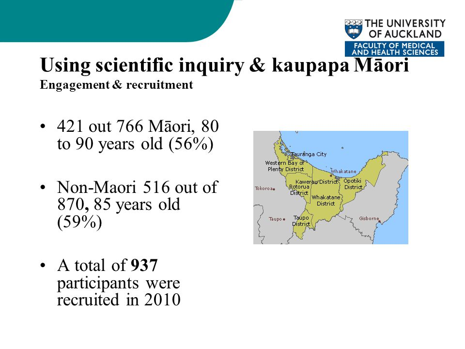 Using scientific inquiry & kaupapa Māori Engagement & recruitment 421 out 766 Māori, 80 to 90 years old (56%) Non-Maori 516 out of 870, 85 years old (
