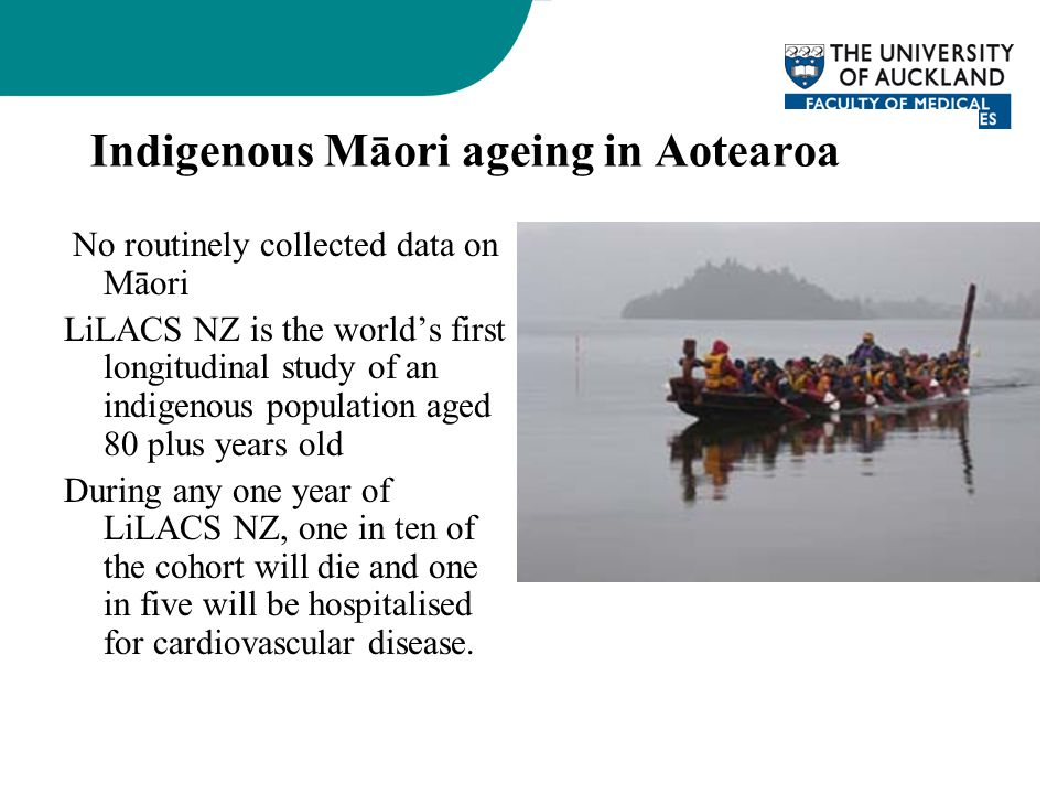 No routinely collected data on Māori LiLACS NZ is the world's first longitudinal study of an indigenous population aged 80 plus years old During any o