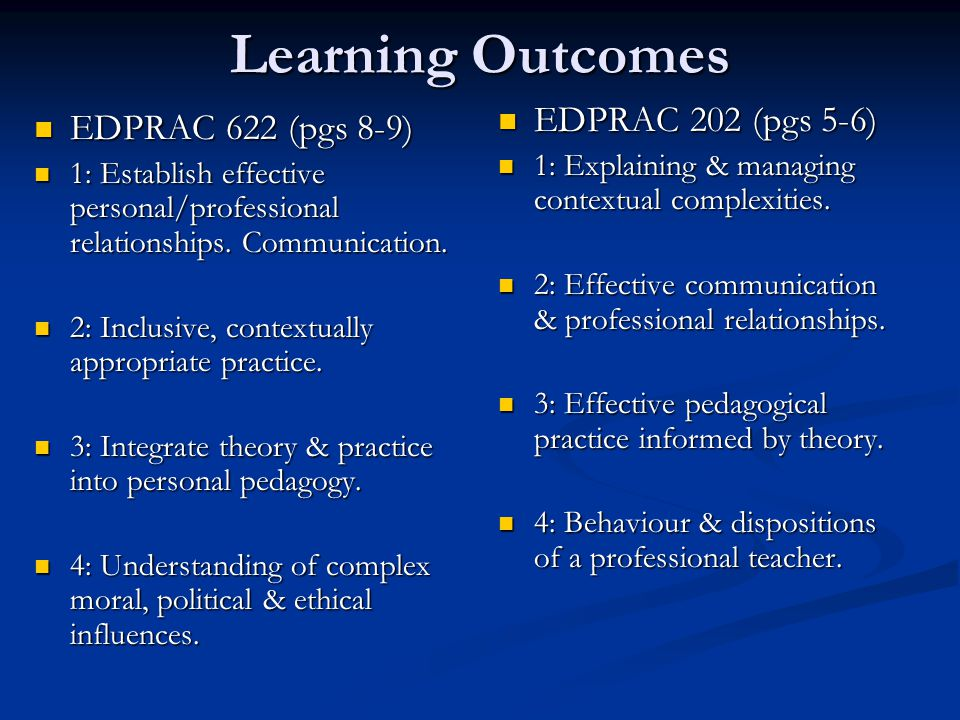 Learning Outcomes EDPRAC 622 (pgs 8-9) EDPRAC 622 (pgs 8-9) 1: Establish effective personal/professional relationships.