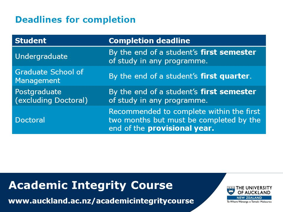 Deadlines for completion Academic Integrity Course www.auckland.ac.nz/academicintegritycourse StudentCompletion deadline Undergraduate By the end of a student's first semester of study in any programme.