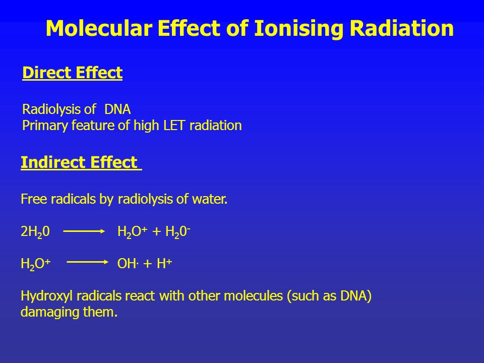 Effect of Radiation on Living Organisms Molecular Effect of Ionising Radiation Disruption of bonds - reduced molecular weight Alteration of the tertia