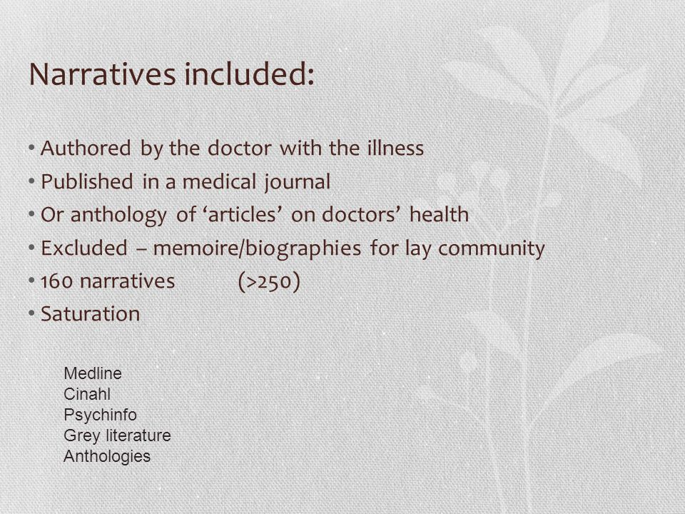 Narratives included: Authored by the doctor with the illness Published in a medical journal Or anthology of 'articles' on doctors' health Excluded – memoire/biographies for lay community 160 narratives (>250) Saturation Medline Cinahl Psychinfo Grey literature Anthologies