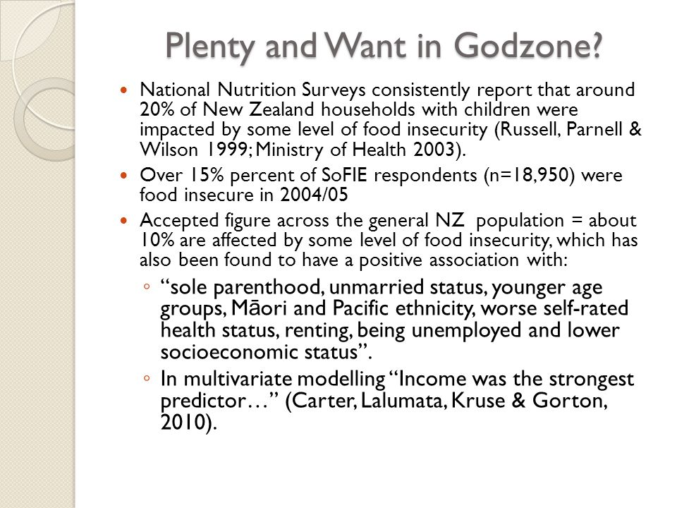 Hamilton Food Aid Results A census style survey of Hamilton food aid services showed that over a 12 month period in 2005/2006 this very average NZ community of around 130,000 people absorbed: ◦ $1,157,623 worth of SNG for Food (WINZ) ◦ 4,232 food parcels, each with enough food to feed a household for three days ◦ 25,557 community meals
