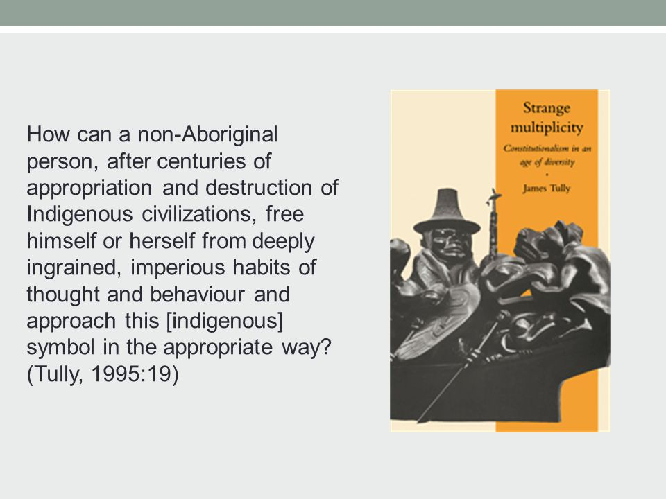 How can a non-Aboriginal person, after centuries of appropriation and destruction of Indigenous civilizations, free himself or herself from deeply ingrained, imperious habits of thought and behaviour and approach this [indigenous] symbol in the appropriate way.