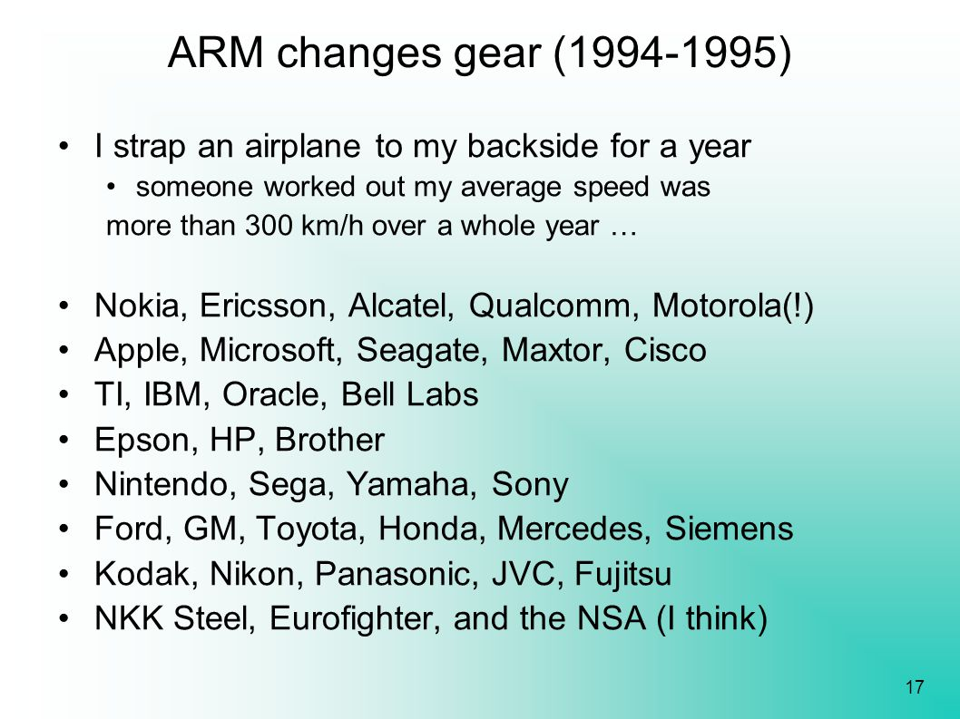 17 ARM changes gear (1994-1995) I strap an airplane to my backside for a year someone worked out my average speed was more than 300 km/h over a whole