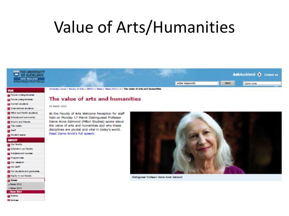 Value of Arts/Humanities