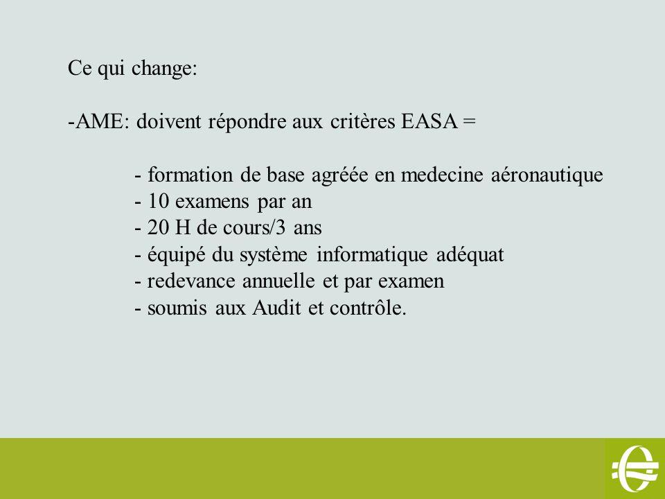 Ce qui change: -AME: doivent répondre aux critères EASA = - formation de base agréée en medecine aéronautique - 10 examens par an - 20 H de cours/3 ans - équipé du système informatique adéquat - redevance annuelle et par examen - soumis aux Audit et contrôle.