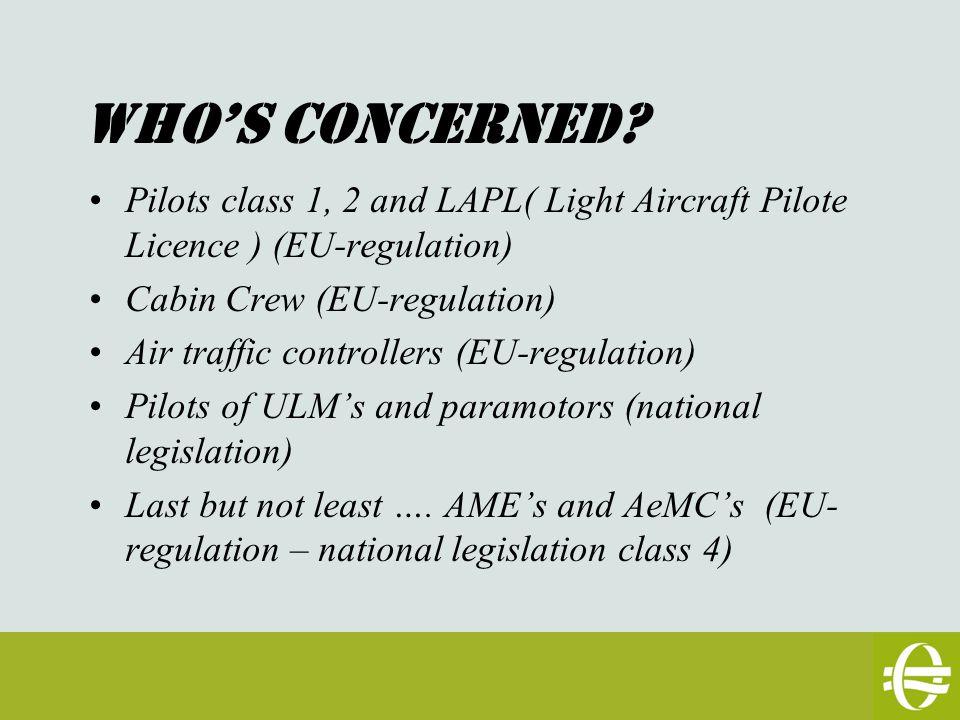 Types de Licence: -Class 1 : professional pilots - PPL (A) (H) (SPL) (B): aircraft 2 T + remunerated flight instruction - LAPL (A) (H) (S) (B): aircraft < 2T, 4 POB max -CC -ATCO